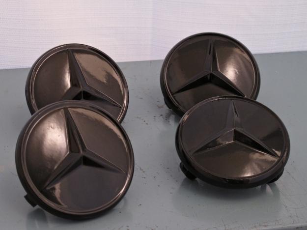 Mercedes motoring black powder coated bundt center caps for Mercedes benz hats sale