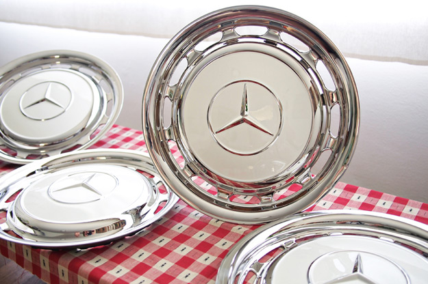 Mercedes motoring stainless steel hubcaps for Mercedes benz hubcaps